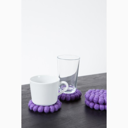 myfelt Glass Coaster, round, made of lilac felt balls, Ø 9 cm