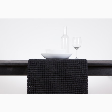 myfelt Table Runner from black felt balls, 40 x 70 cm