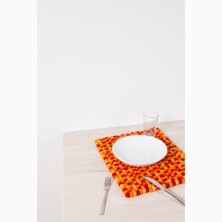 myfelt Loni Felt Ball-Table Mat orange-red, rectangular, 35 x 45 cm